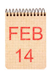 14 Februari kalender Royaltyfri Fotografi