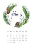 Februari-kalender royalty-vrije stock afbeelding