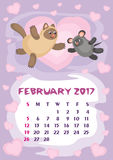 Februari 2017 kalender royaltyfri illustrationer