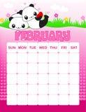 Februari kalender Royaltyfri Fotografi