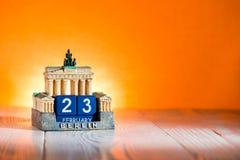 23 februari Kalender Duitsland Stock Foto's