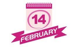 14 Februari kalender med bandet Royaltyfria Foton