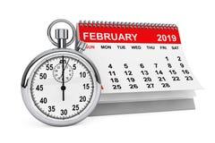 Februari 2019 kalender med stoppuren framförande 3d stock illustrationer