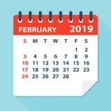 Februari 2019 kalenderblad - vektorillustration stock illustrationer