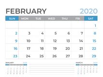 Februari 2020 kalendermall, format för skrivbordkalenderorientering 8 x 6 tum, stadsplaneraredesign, veckastarter på söndag, brev royaltyfri illustrationer