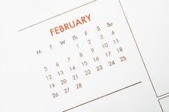 Februari-kalenderpagina Royalty-vrije Stock Afbeeldingen