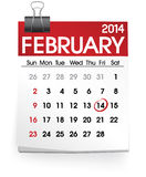 Februari 2014 kalendervektor stock illustrationer