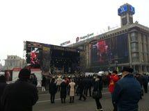 Februari 2014 kiev ukraine Arkivbild