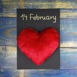 14 Februari - kort för dag för valentin` s Royaltyfri Foto