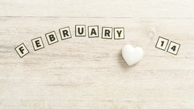 14 februari met rechthoekige brieven nauwkeurig die wordt beschreven die Stock Foto