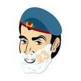 23 februari Militairscheerbeurt Het scheren van schuim op zijn gezicht Militair h Stock Afbeelding