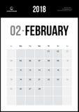 Februari 2018 Minimalist väggkalender Arkivfoto