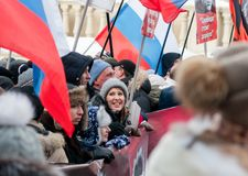 25 FEBRUARI 2018, MOSKVA, RYSSLAND Kandidat för presidenten Ksenia Royaltyfri Fotografi