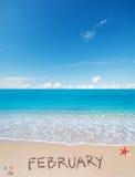 Februari op een tropisch strand royalty-vrije stock afbeeldingen