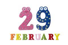 29 februari op witte achtergrond, getallen en letters Stock Foto's