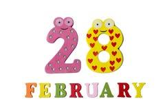 28 februari op witte achtergrond, getallen en letters Stock Foto