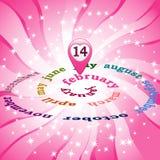 14 Februari på kalender Arkivfoto