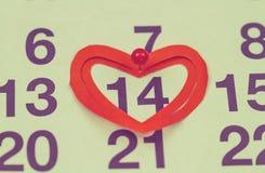 Februari 14, 2015 på kalendern, valentin dag Arkivfoto