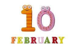Februari 10 på vita bakgrund, nummer och bokstäver Arkivfoton