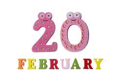 Februari 20 på vita bakgrund, nummer och bokstäver Arkivfoto