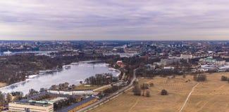 11 februari, 2017 - Panorama van cityscape van Stockholm, Swed Stock Foto's