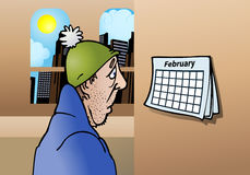 Februari redan? stock illustrationer