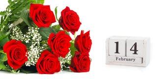 14 februari, rode rozen voor de dag van Valentine ` s Stock Fotografie