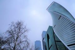 Februari 2019 Rusland moskou Stad glashigh-rise gebouwen van het commerci?le centrum concept stad en aard royalty-vrije stock afbeeldingen
