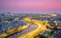 Februari 2016 's nachts Ho Chi Minh City Stock Foto's