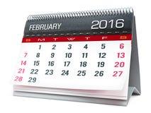 Februari 2016 skrivbords- kalender royaltyfri illustrationer