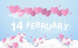 14 Februari som hänger med rosa hjärta, sväller i himmel lyckliga valentiner för dag Pappers- konsthantverkstil Arkivfoton