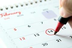 Februari 14 som markeras som dag för valentin` s Royaltyfri Fotografi
