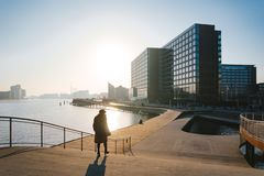 18 februari, 2019 Stad van Kopenhagen, Denemarken Houten dijk Kalvebod Brugge dichtbij de rivier Cityscape in de winter in zonnig royalty-vrije stock foto's