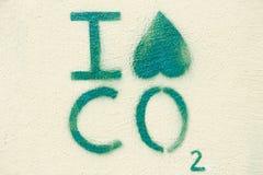 Miljö- grafitti på en vägg: Jag hatar CO2 (landskap), Arkivbild