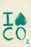 Miljö- grafitti på en vägg: Jag hatar CO2 (ståenden) Arkivbild