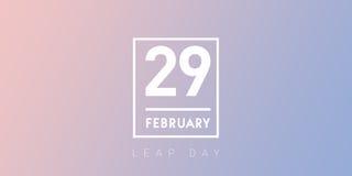 29 Februari-typografie op de de dagachtergrond van de sereniteitssprong stock afbeelding