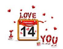 February 14. Illustration elegant wooden calendar on February 14 vector illustration
