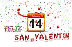 February 14. Illustration elegant wooden calendar on February 14 stock illustration