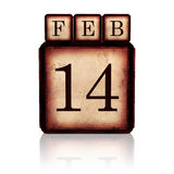February 14 on 3d wooden cubes Stock Images