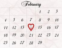 February 14th. A February calendar with a reminder to not forget Valentine's Day Stock Photo