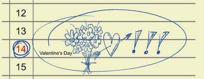 February 14th. Vector - February 14th marked on a calendar with a blue pen vector illustration
