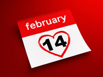 February 14th calendar. 3d render of February 14th calendar on red background Stock Photography