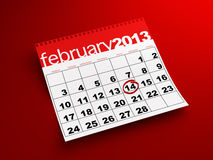 February 14th calendar. 3d render of February 2013 calendar on red background Stock Photos