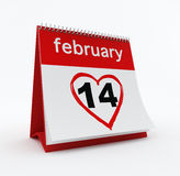 February 14th calendar. 3d render of February 2013 calendar on white background Royalty Free Stock Photo