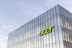 Free February 16, 2021. Editorial Use Only, 3D CGI. Acer Signage Logo On Top Of Glass Building. Workplace In High-rise Office Stock Photos - 211743993