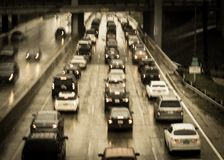 Free FEBRUARY 2, 2019 - LOS ANGELES, CA, USA - Abstract And Impressionistic Traffic Congestion In A Rain Storm On The 110 CA Freeway, Royalty Free Stock Photography - 166927447
