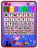 February 2010 calendar. Illustration of a a colorful February 2010 calendar Royalty Free Stock Photos