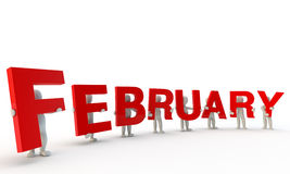 February. 3D humans forming red word February made from 3d rendered letters isolated on white Royalty Free Stock Images