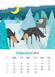 February. Vector calendar 2013. February. Animals design Royalty Free Stock Photos