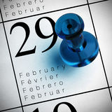 February the 29th. Calendar where it's written february the 29th with a blue thumbtack Stock Photo